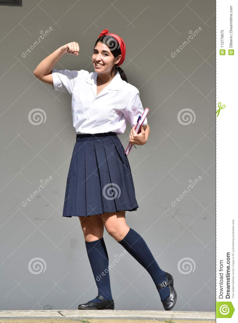 Female School Girl Flexing Muscles Stock Image - Image of ...