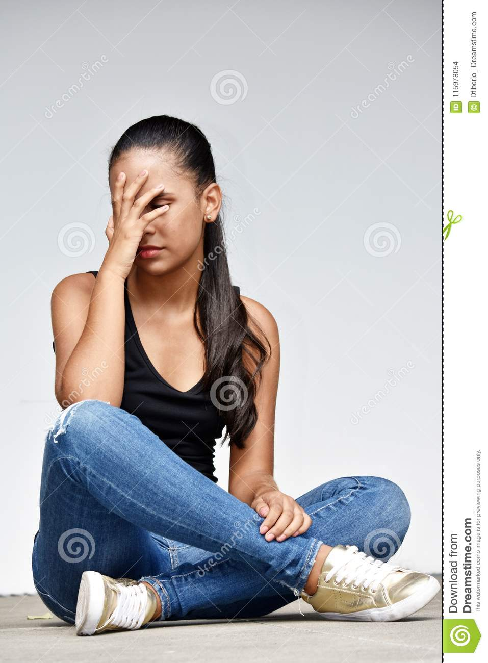 Teenage Girl Student And Anxiety Wearing Bluejeans