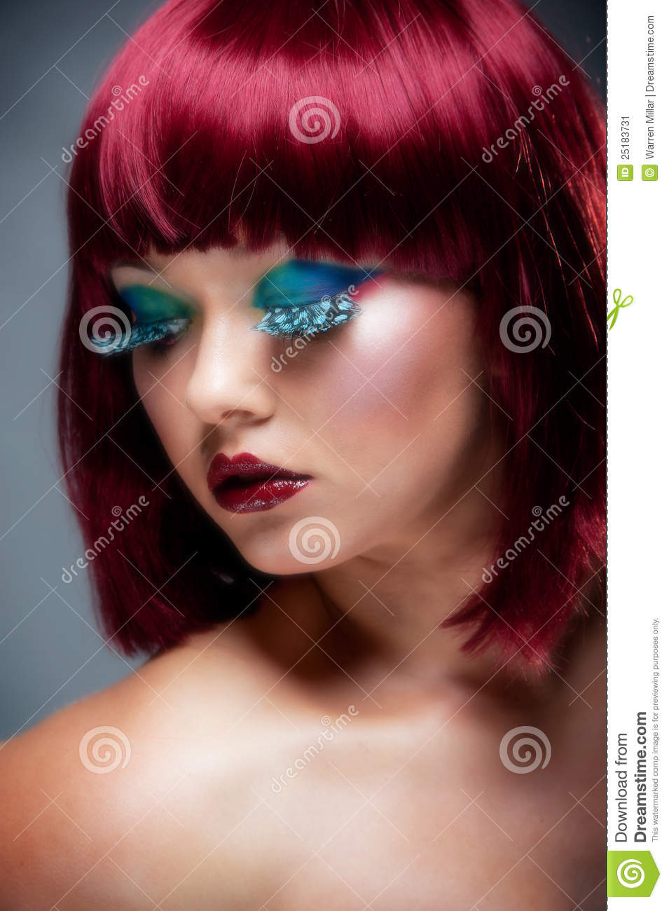 Pretty Young Female With Auburn Hair And Makeup Stock