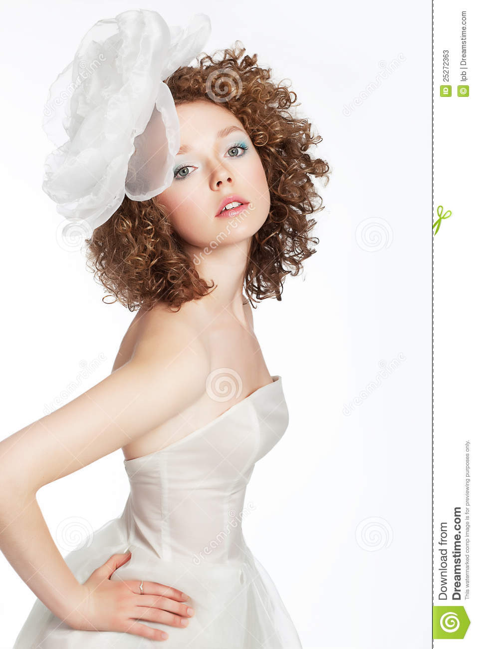Pretty Young Female With Curly Hair, Bow Portrait Stock Image ...