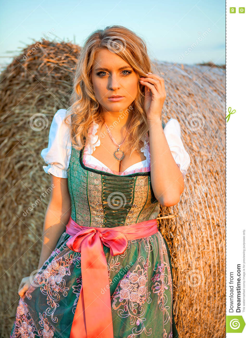 pretty young german oktoberfest blonde woman wearing a dirndl stock image image of field