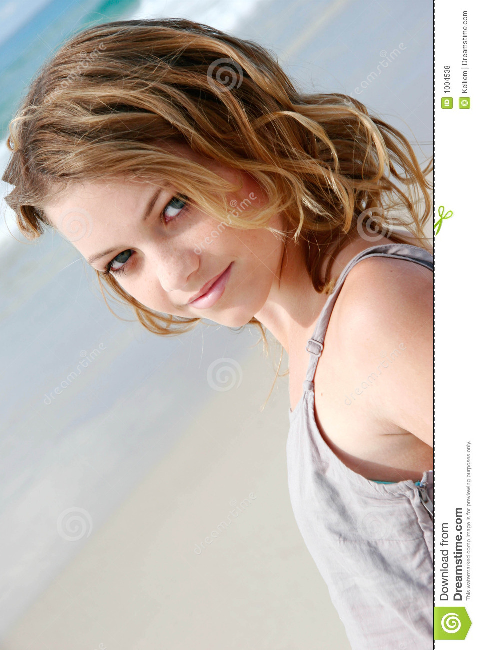 Pretty Young Girl At The Beach Stock Photo