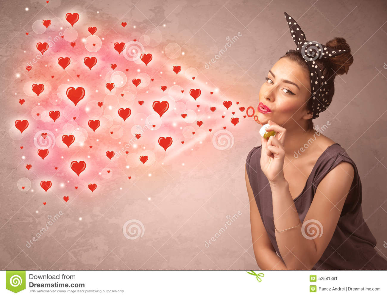Pretty Young Girl Blowing Red Heart Symbols Stock Image Image Of
