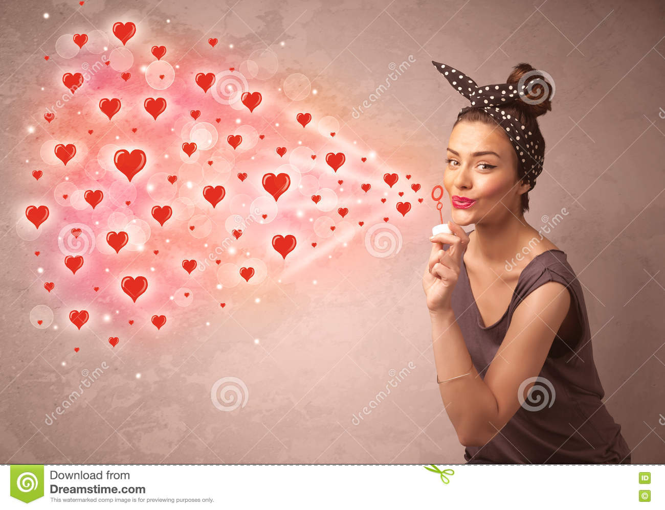 Pretty Young Girl Blowing Red Heart Symbols Stock Photo Image Of