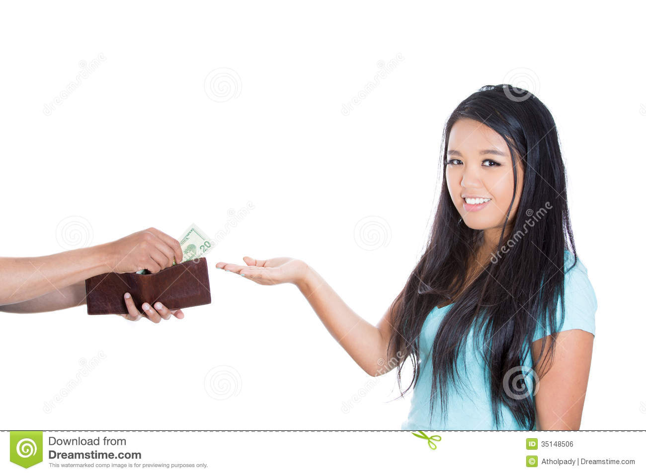 A Pretty Young Girl Happily Receiving Dollars Stock Photo