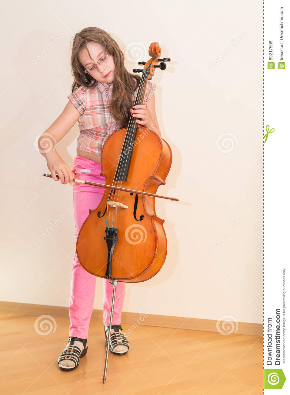 Pretty Young Girl Practice Playing Cello Stock Photo ...