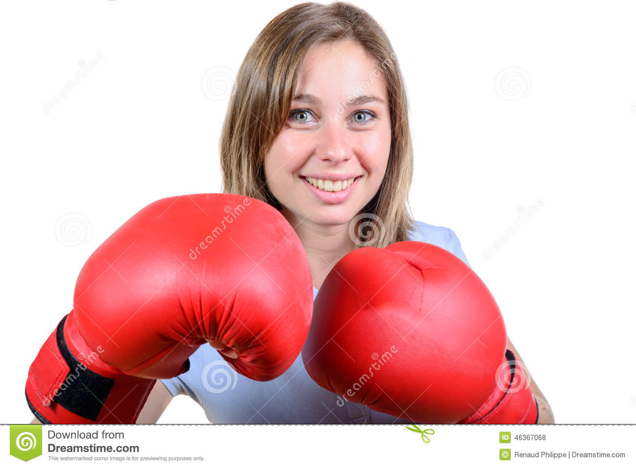 Girl Fighter In Red Gloves Royalty-Free Stock Photo ...