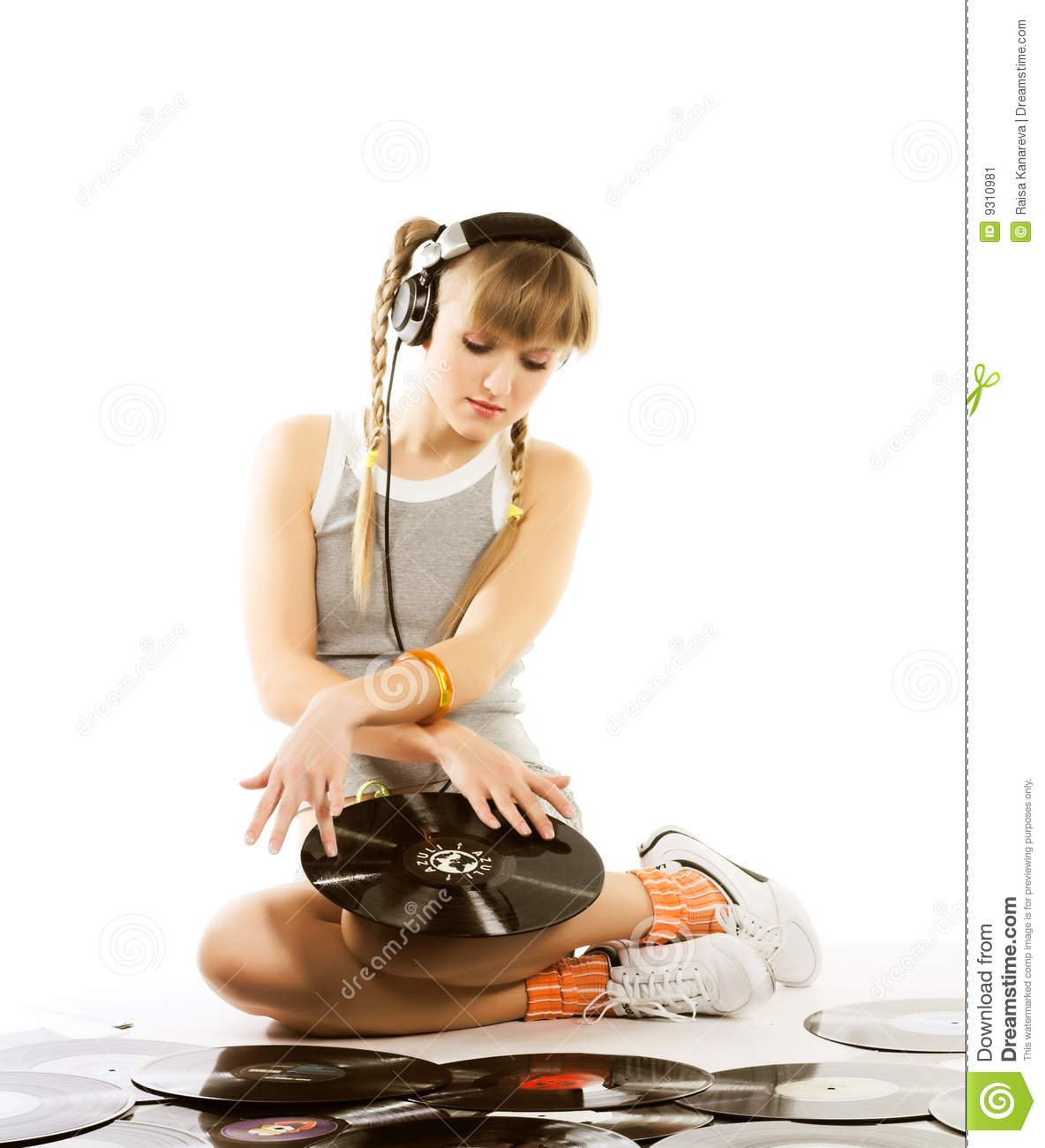 Pretty Young Girl With Vinyl Records Stock Image