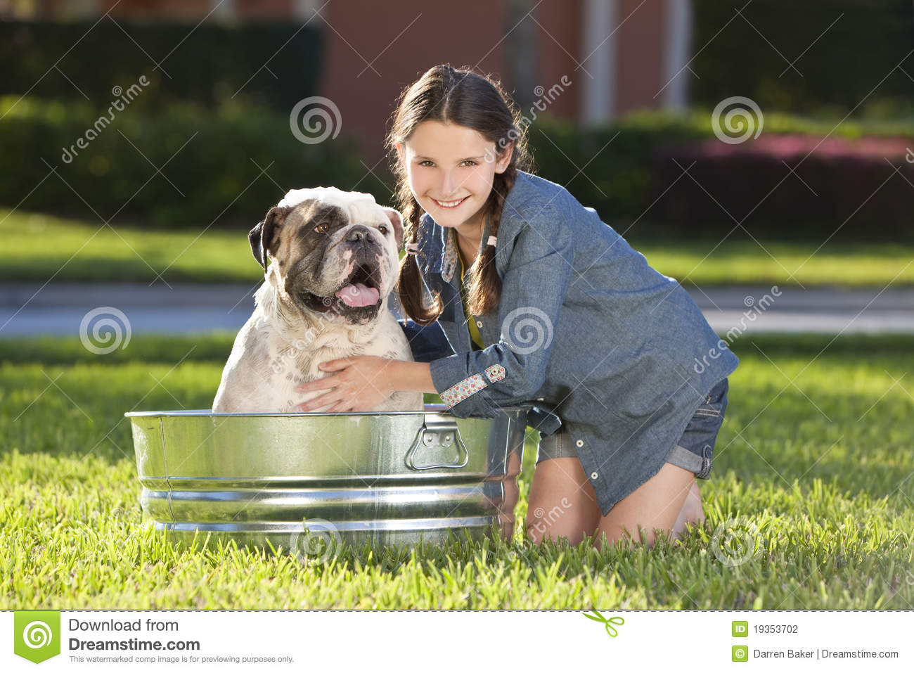 Pretty Young Girl Washing Her Pet Dog In A Tub Stock Photo