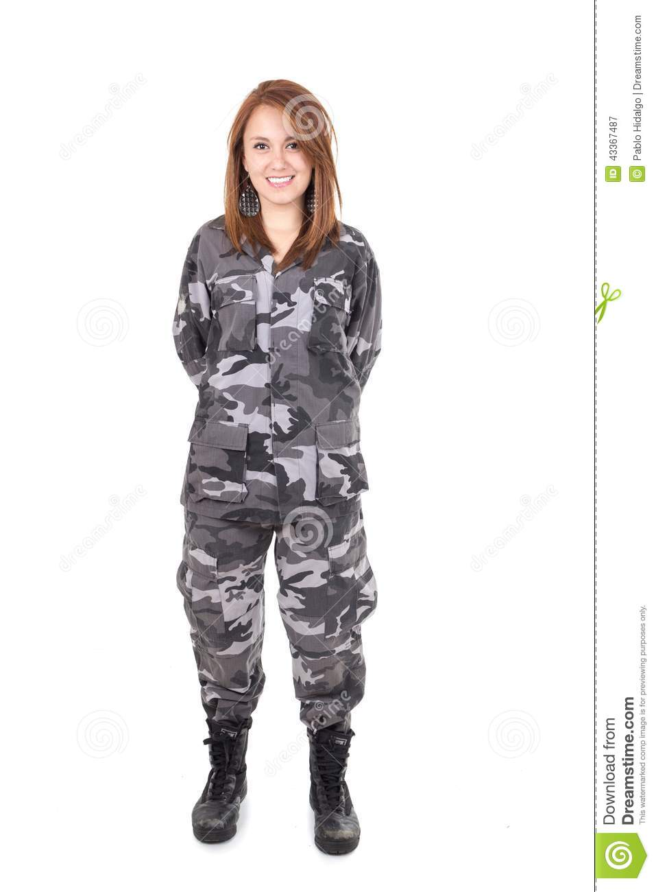 Pretty Young Girl Wearing Military Uniform Stock Photo Image 43367487