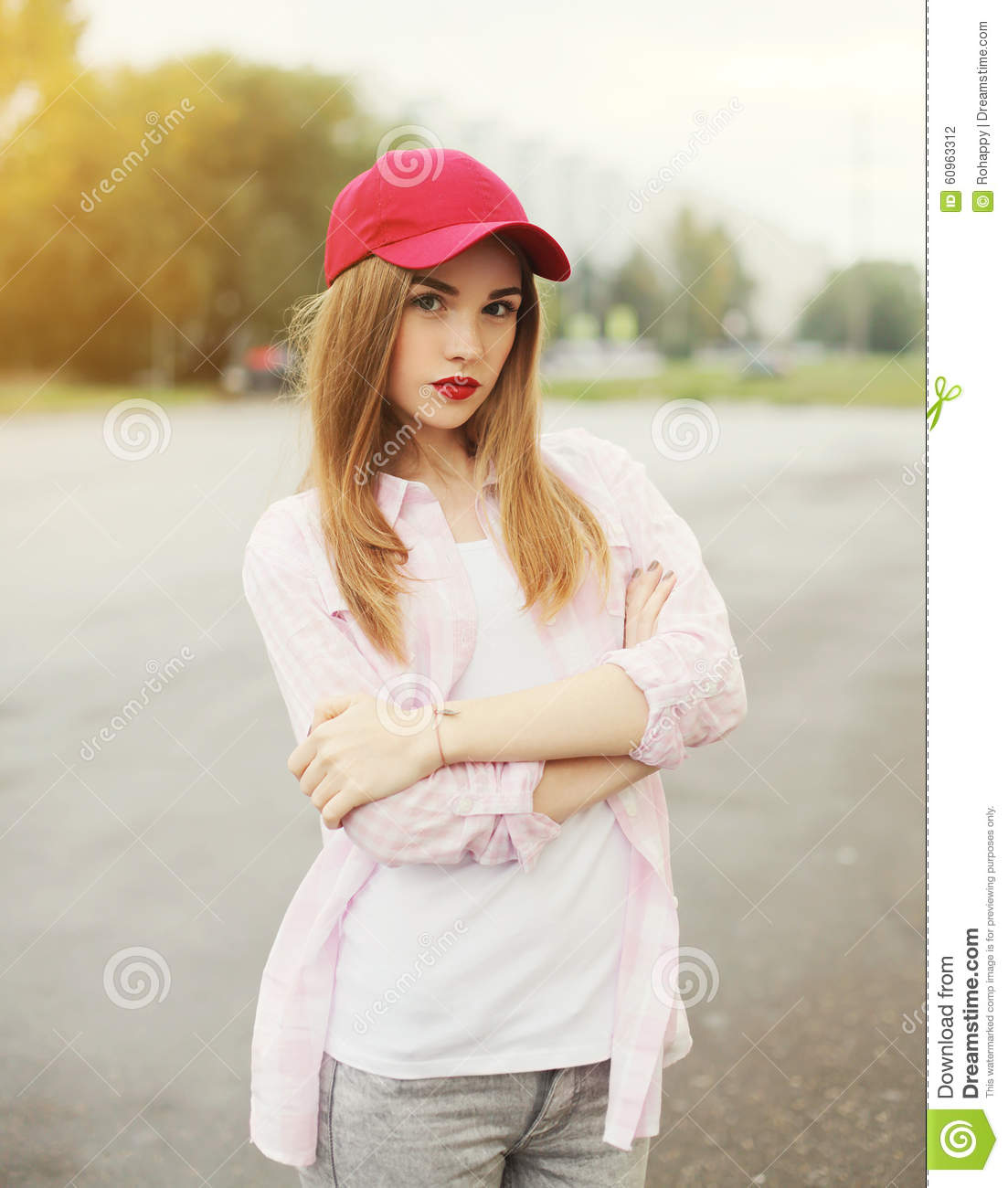 Pretty Young Girl Wearing A Shirt And Red Cap Stock Photo - Image of ... 940afee8e555