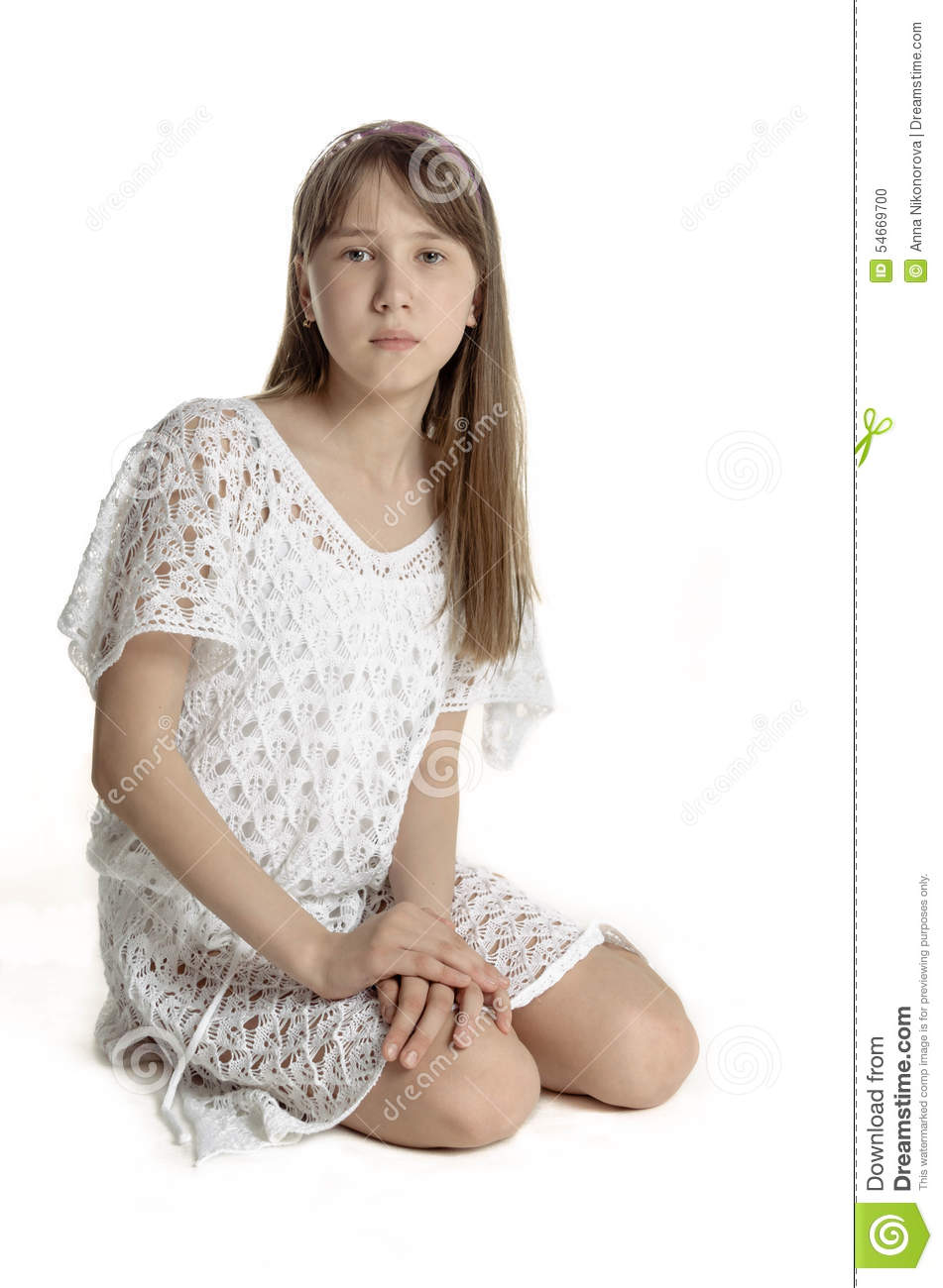 Pretty Young Girl In A White Tunic Transparent, Romantic ...