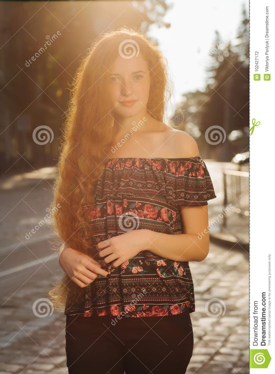Tender Young Red Haired Model With Freckles. Woman With