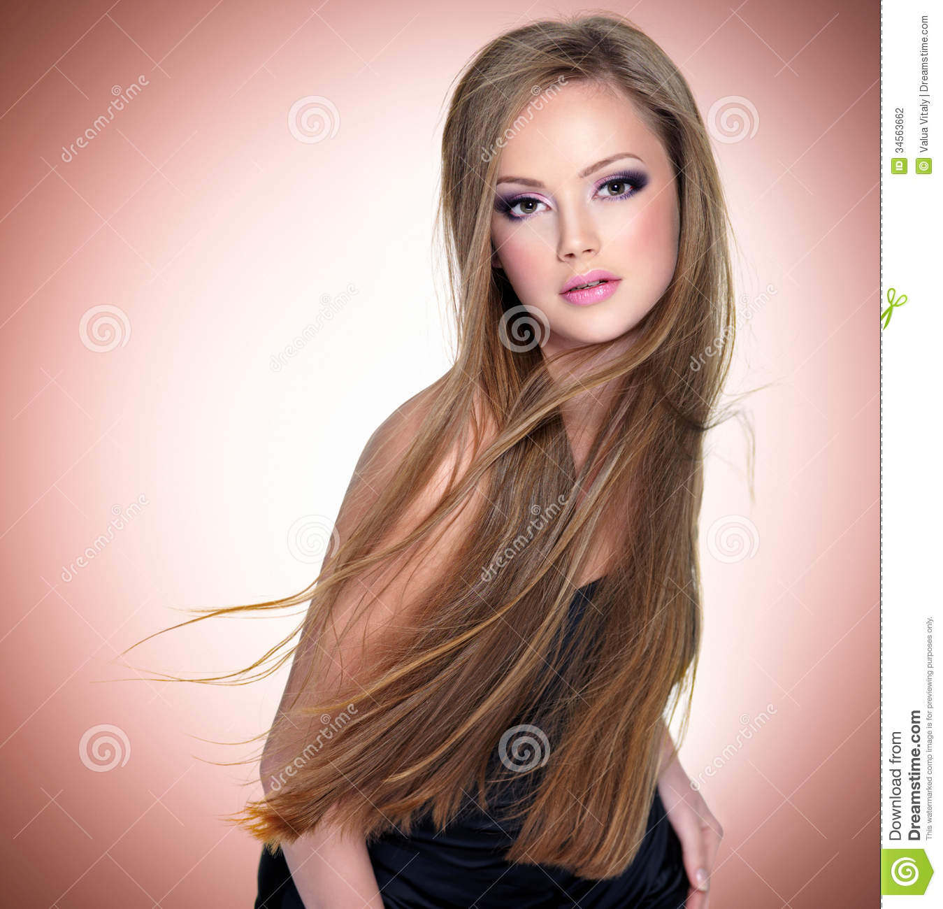 Pretty young woman with beautiful long straight