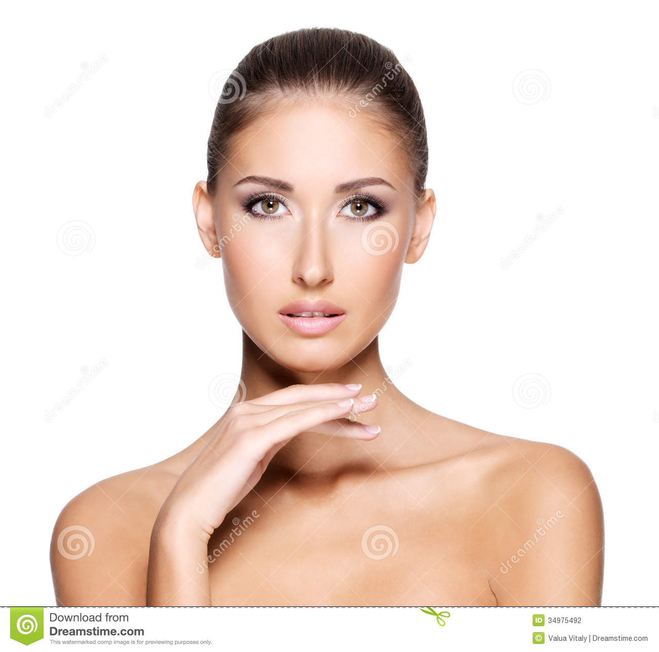 Clear Skin: Pretty Young Woman With Clear Fresh Skin Stock Photo