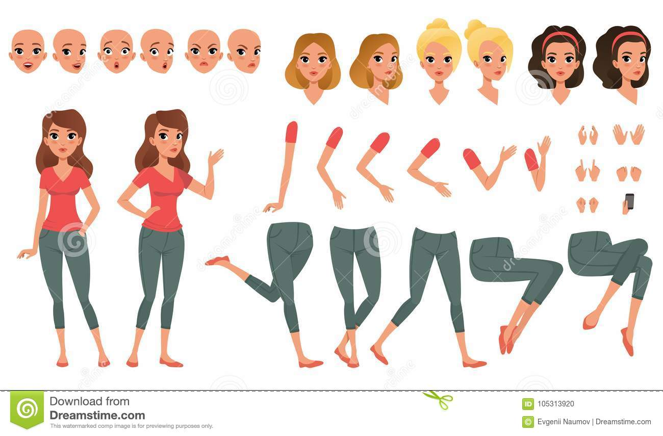 Pretty young woman constructor in flat style. Parts of body legs and arms , face emotions, haircuts and hands gestures