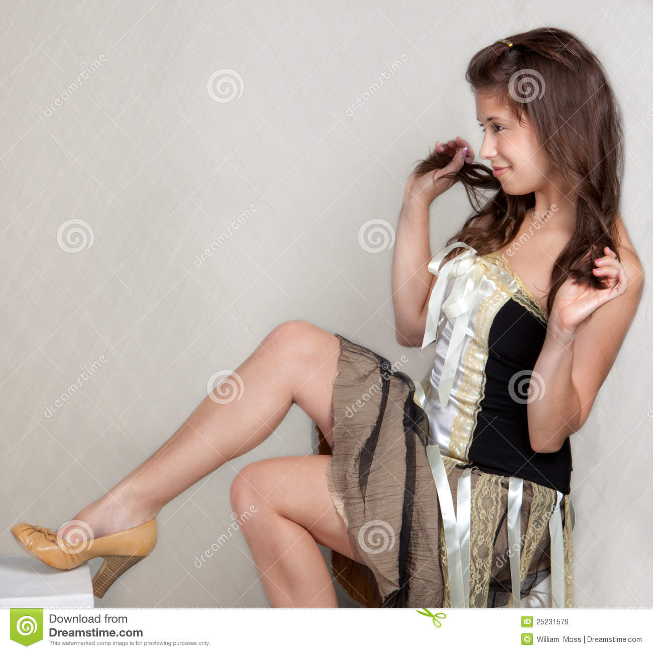 Pretty Young Woman In Dress And Heels Royalty Free Stock
