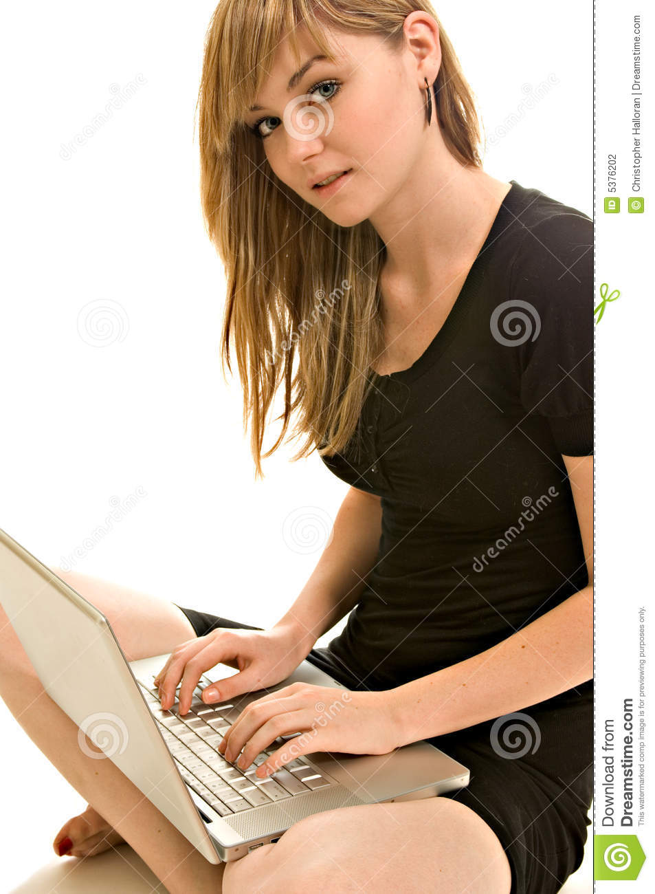 Pretty young woman with a laptop