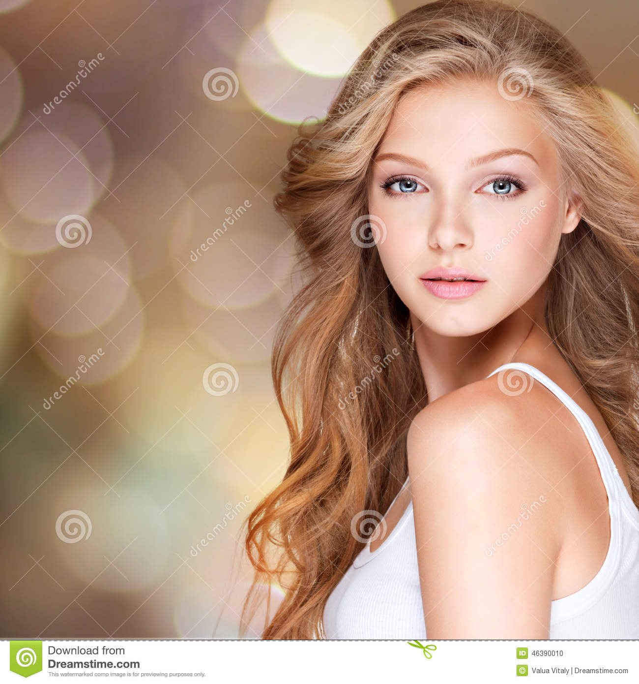 Pretty Young Woman With Long Curly Hair