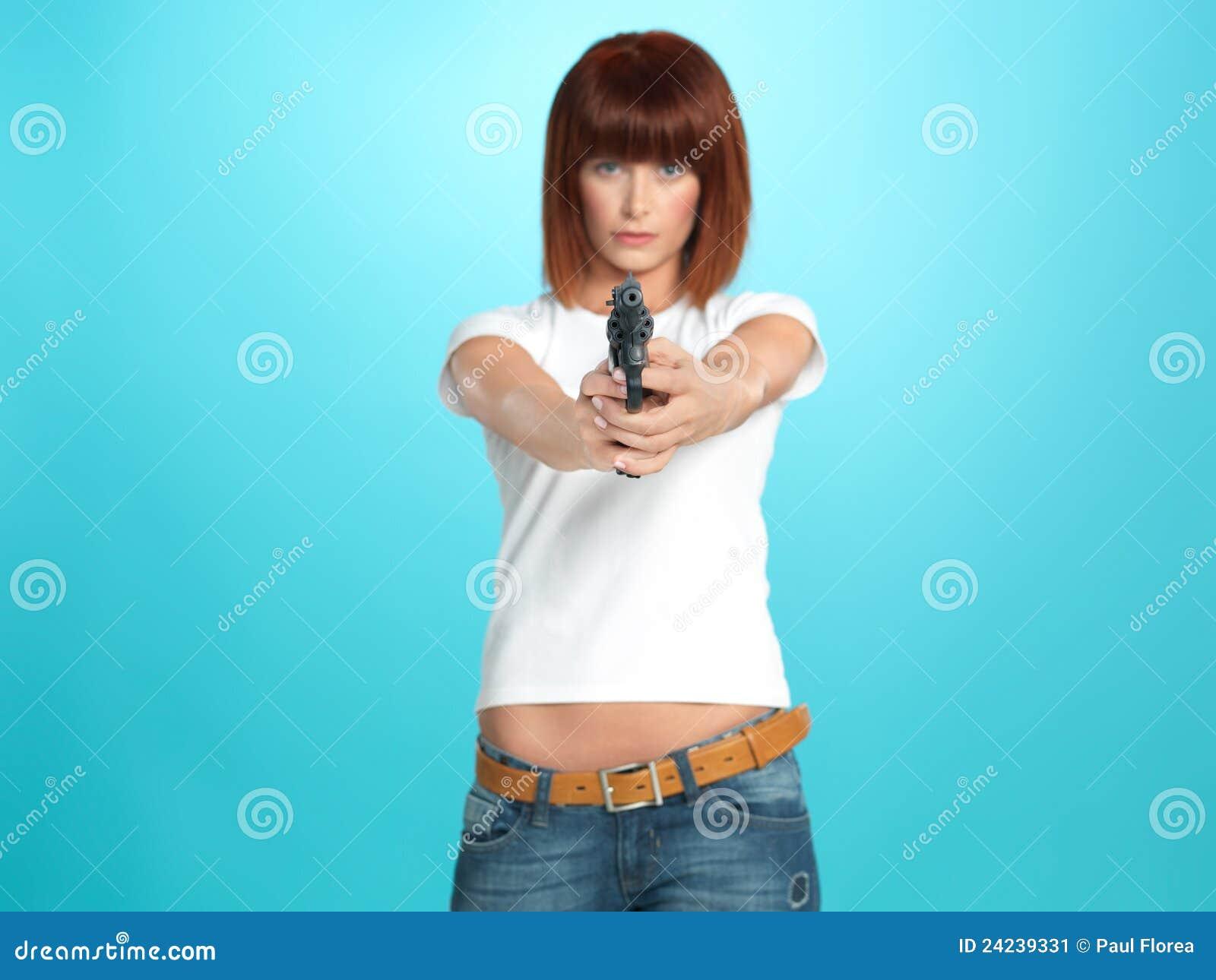 pointing gun Woman