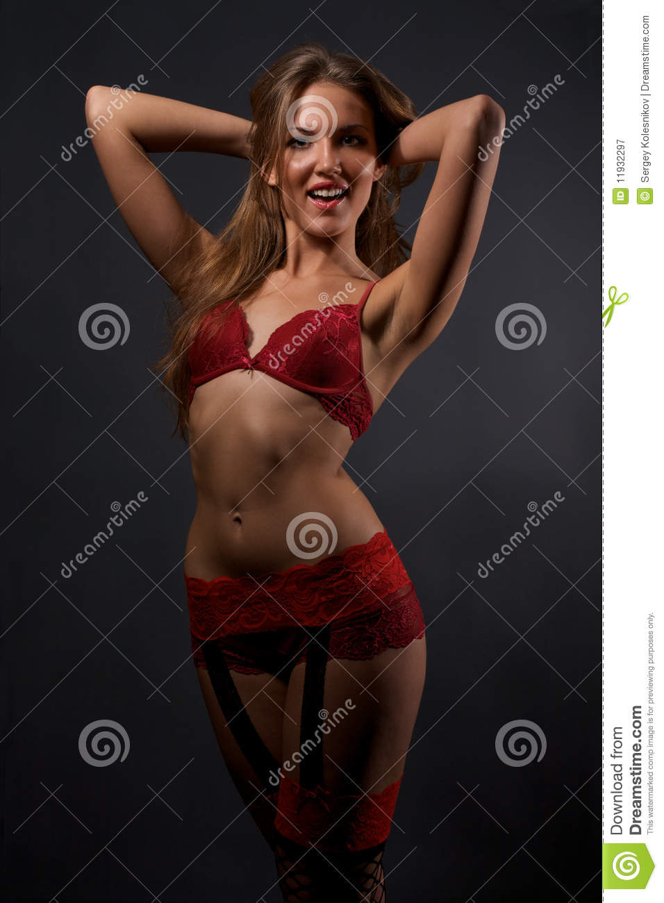 5ea776060 Pretty Young Woman In Red Lingerie And Stockings Stock Image - Image ...