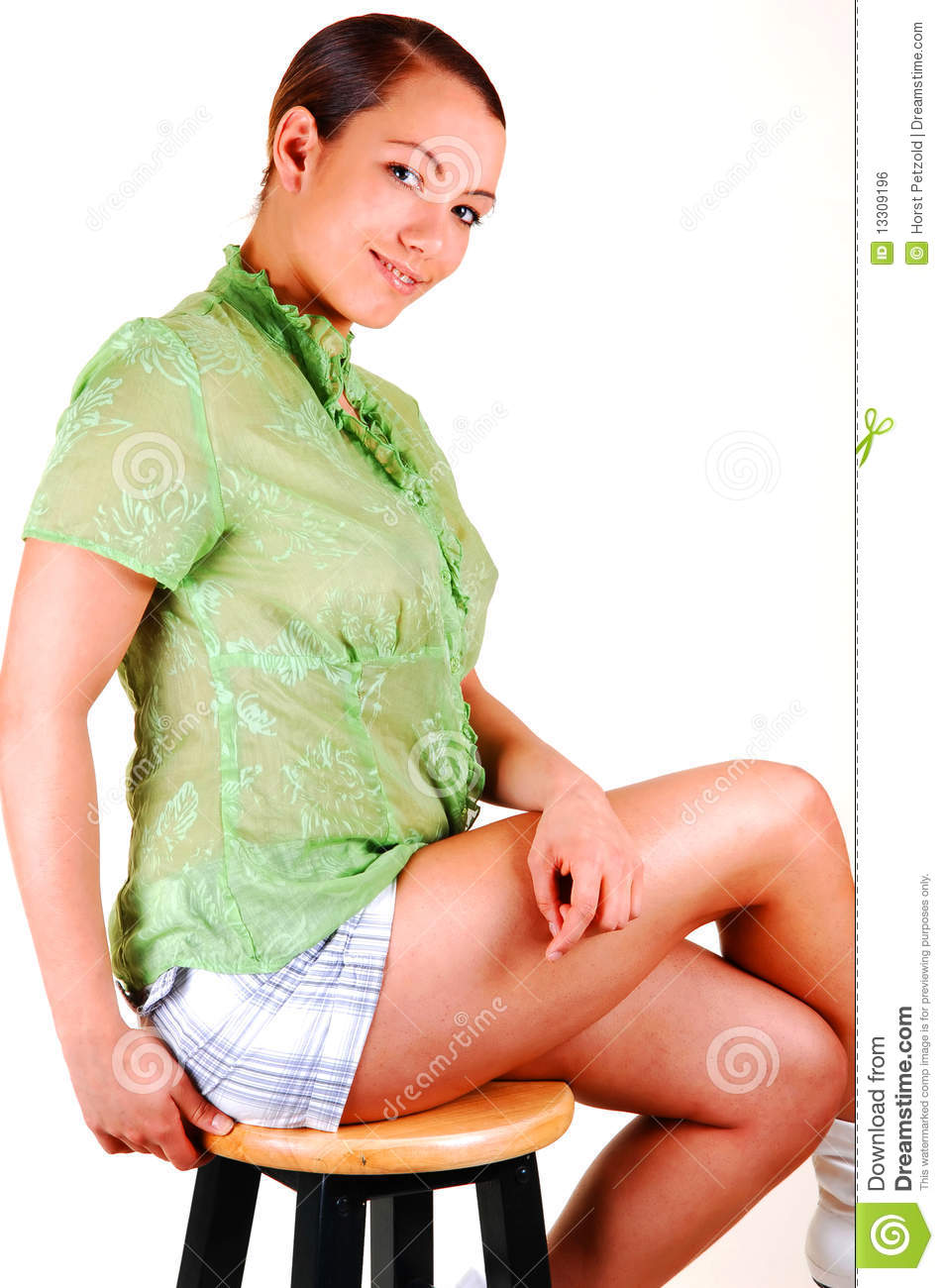 Pretty Young Woman Sitting. Stock Photo - Image of beauty ...