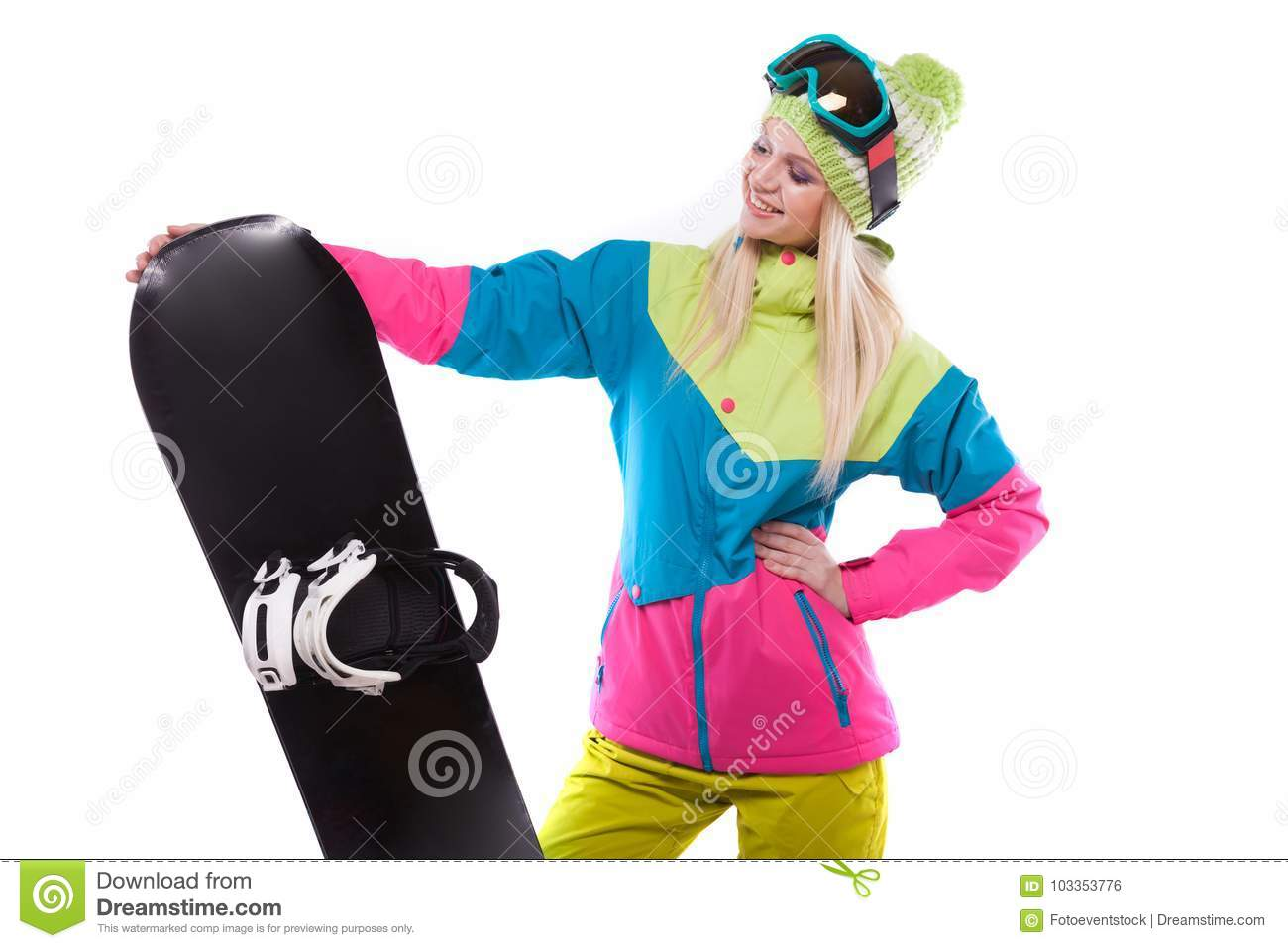 3e94bbf507 Pretty Young Woman In Ski Outfit And Ski Glasses Hold Snowboard ...