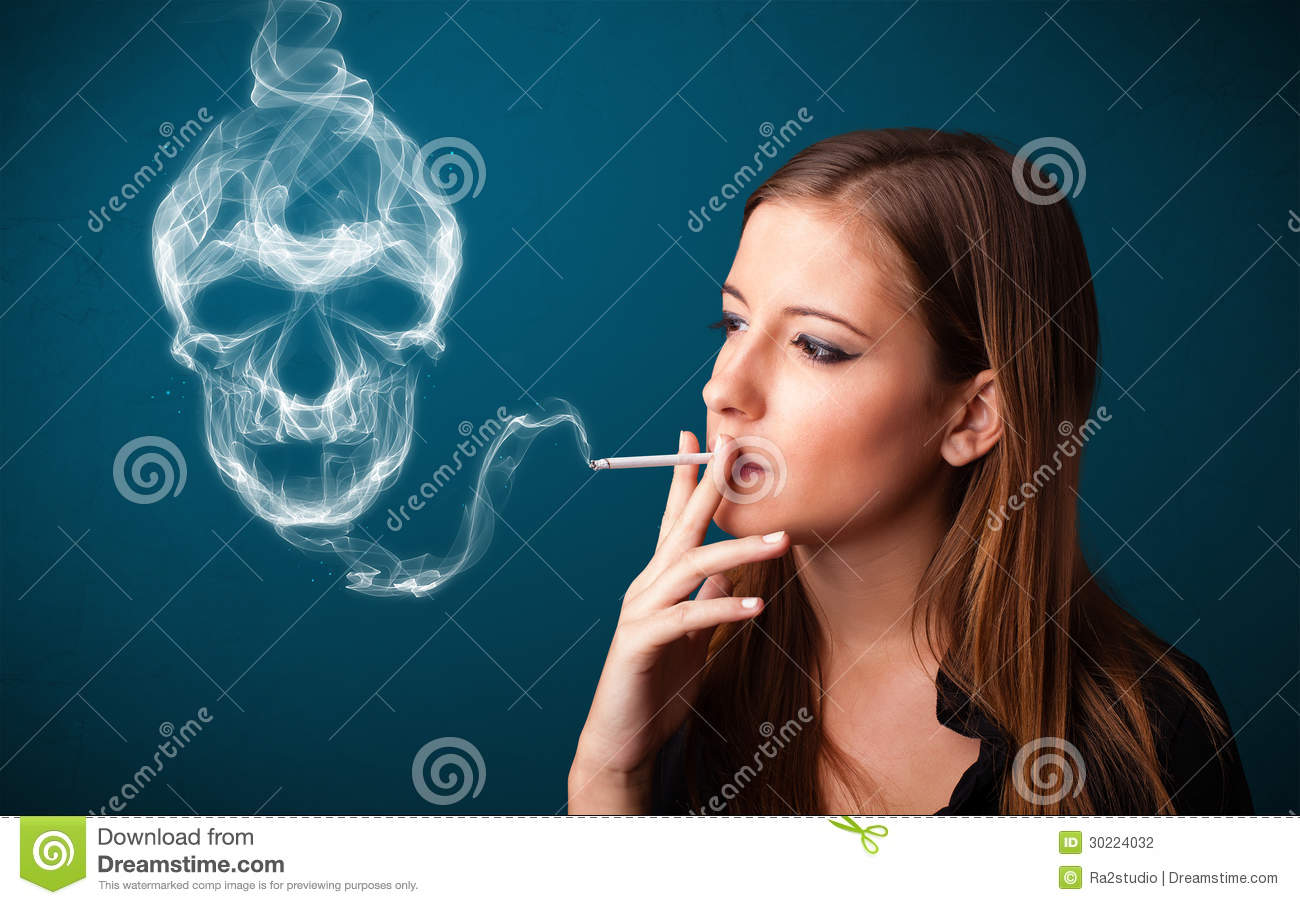 Young Woman Smoking Dangerous Cigarette With Toxic Skull