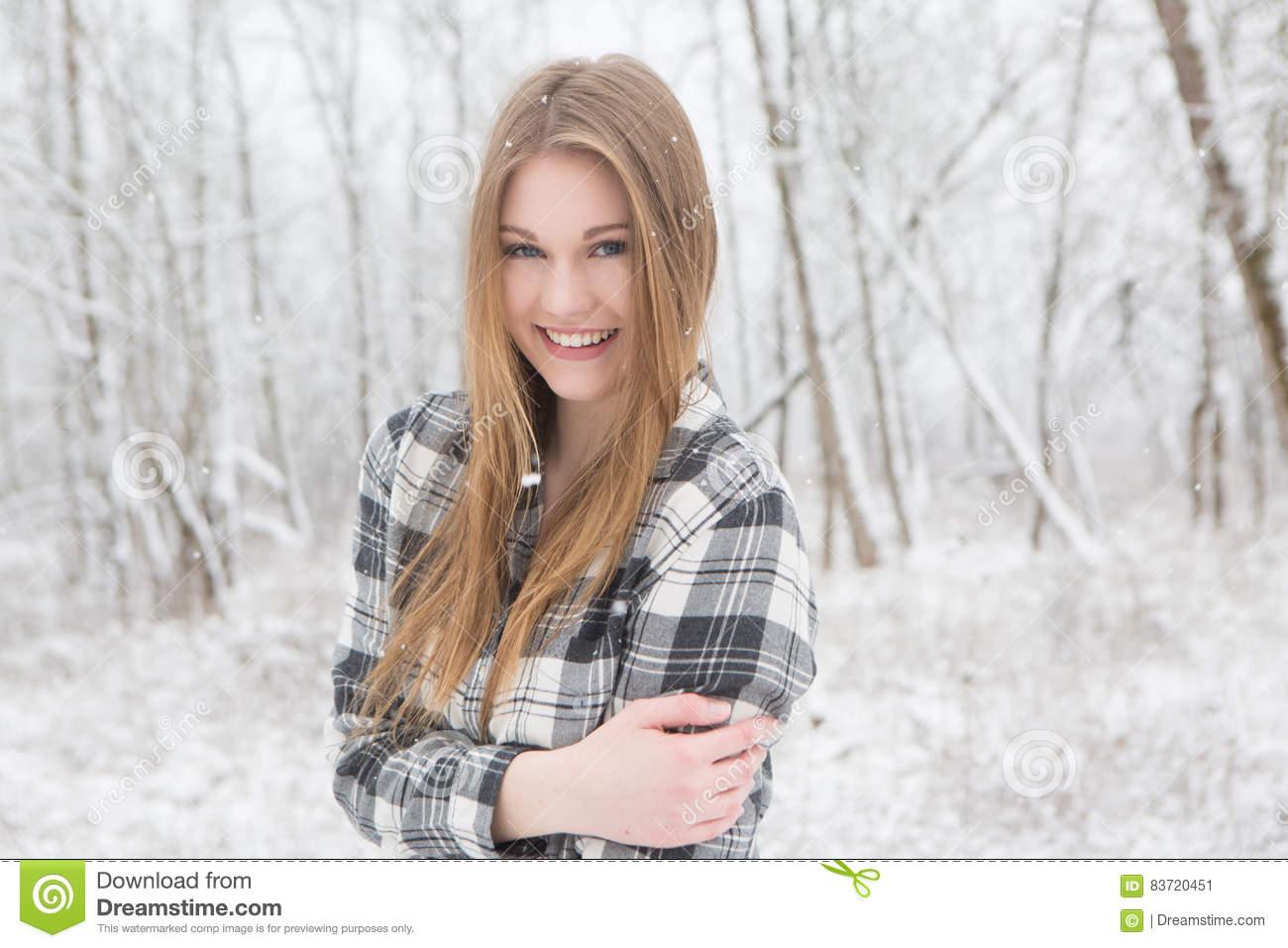 e92b2179 Pretty Young Woman Standing In A Snow Covered Forest. Stock Image ...