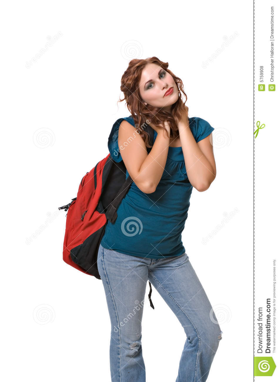 Pretty young woman wearing backpack