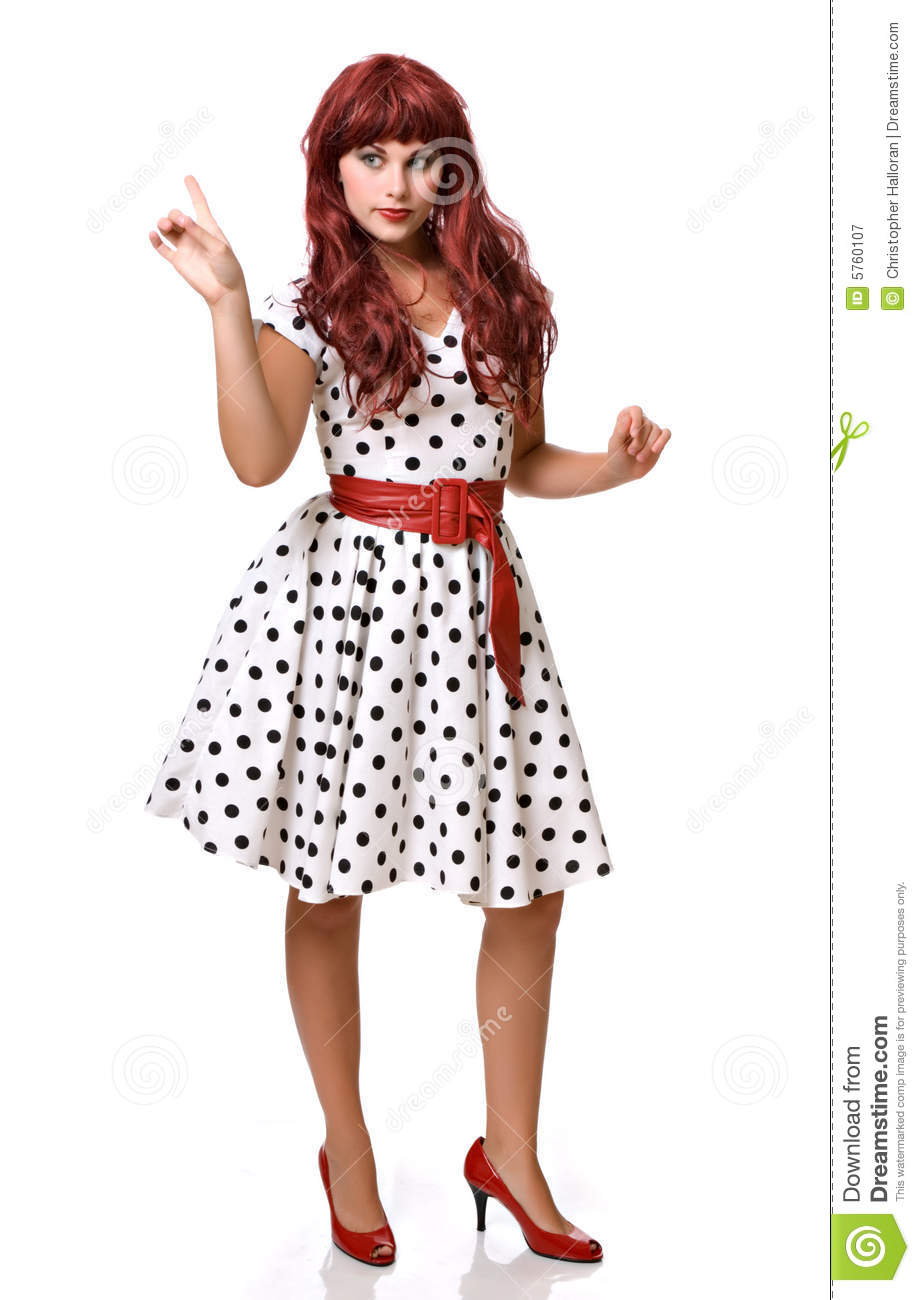 Pretty young woman in a wig and costume
