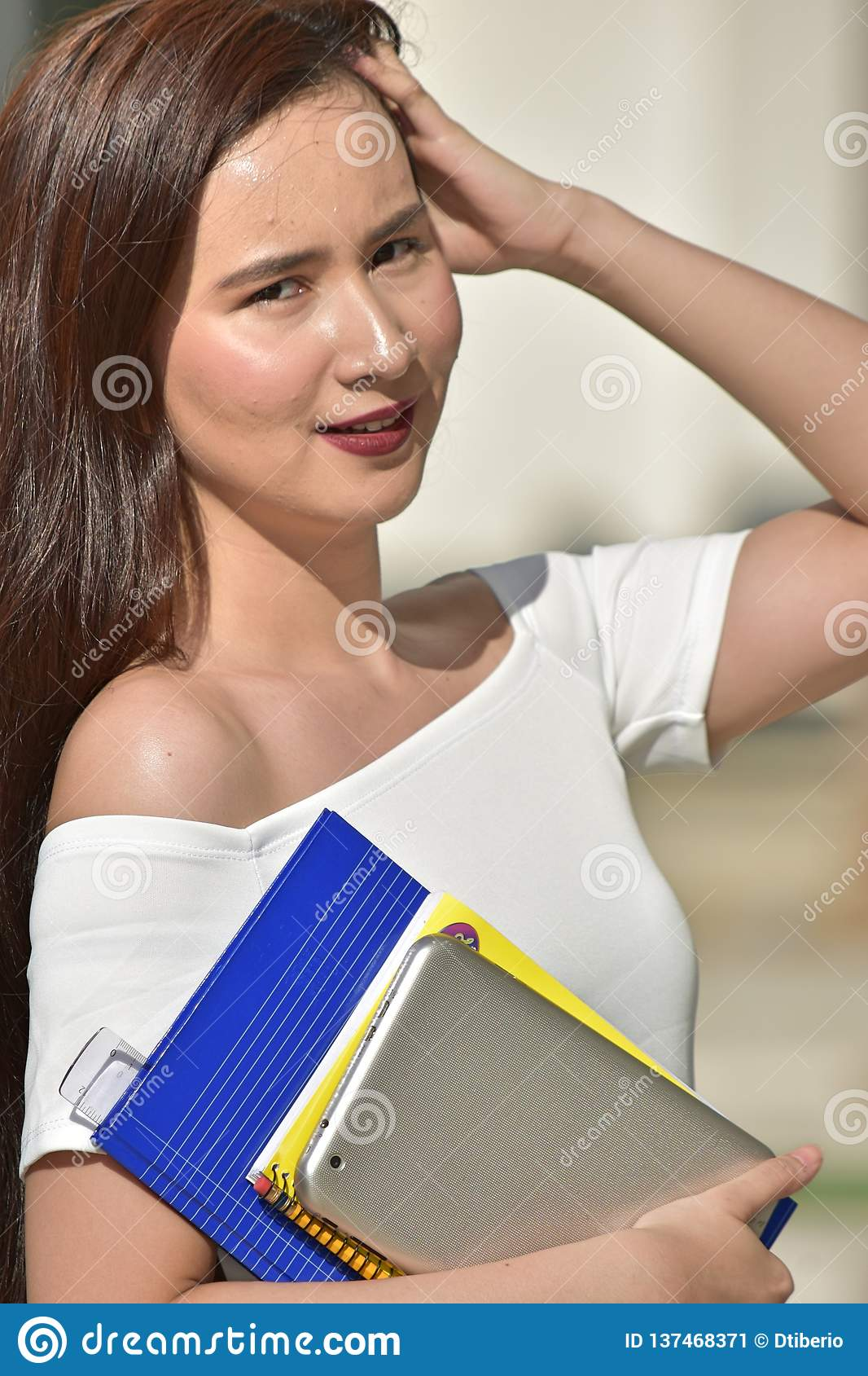 Pretty Youthful Girl Student With Books Stock Image Image