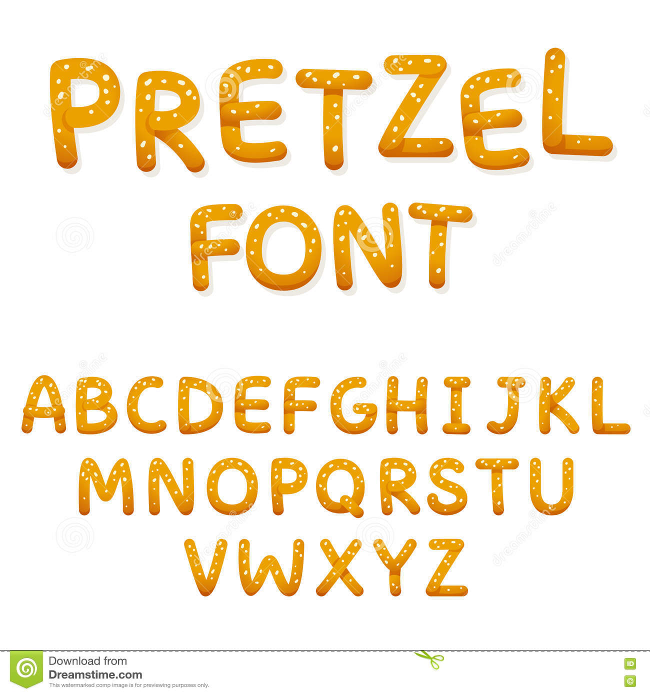 Alphabet pretzel words too much salt isolated royalty free for Cuisine font