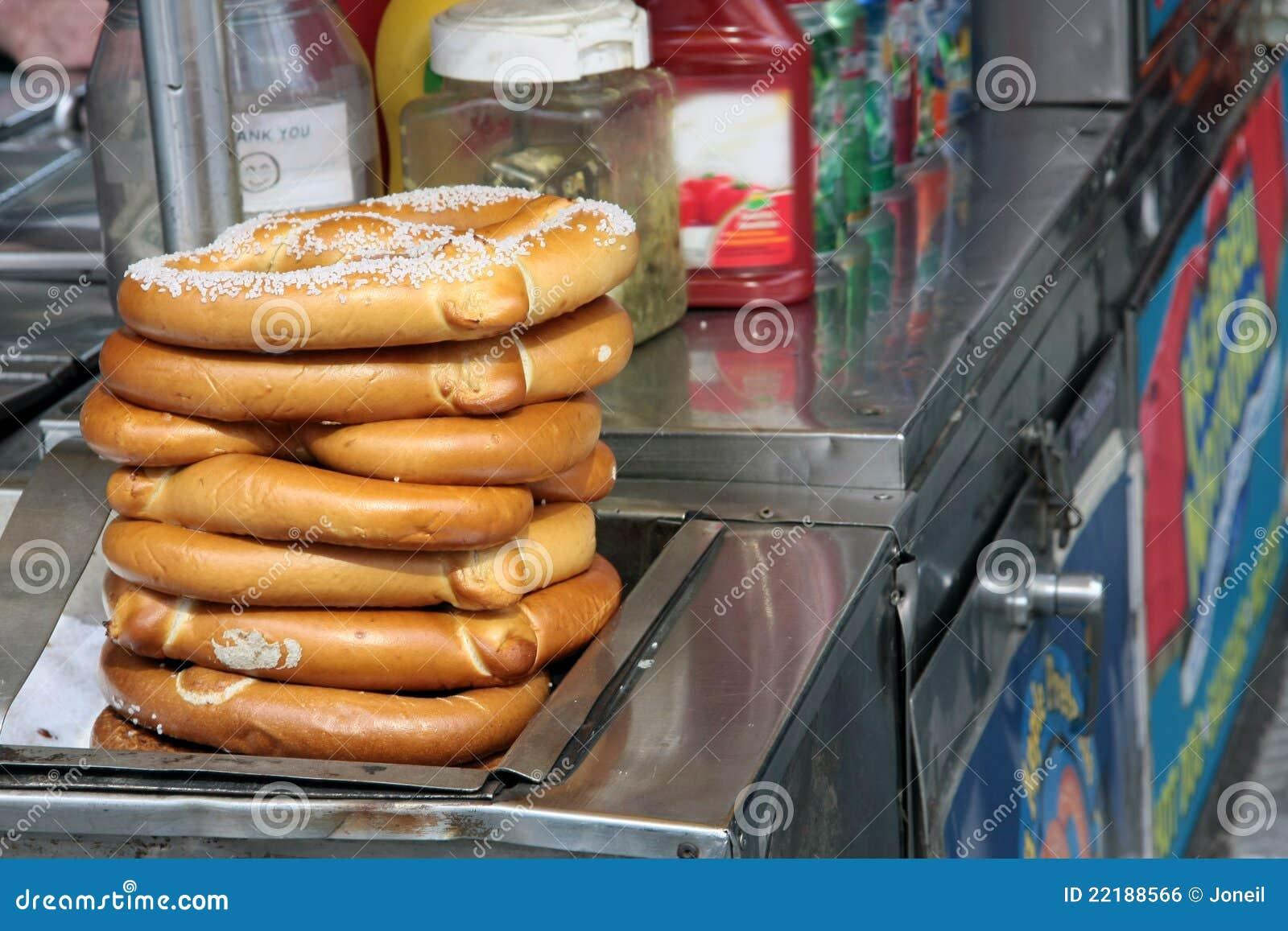Pretzels on food cart