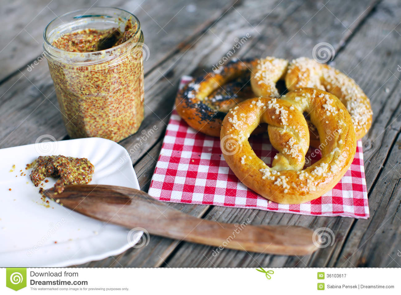 Pretzels With Salt And Grainy Mustard, Snack Food For Picknick Royalty ...
