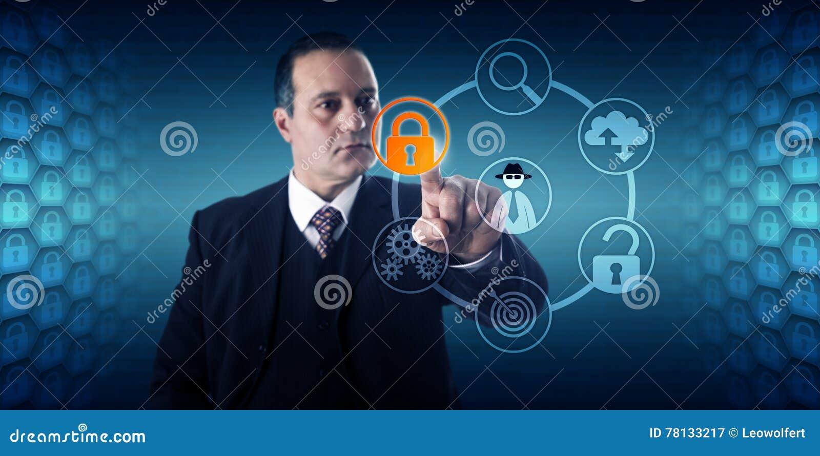 Prevención de fraude de Activating Lock For del hombre de negocios