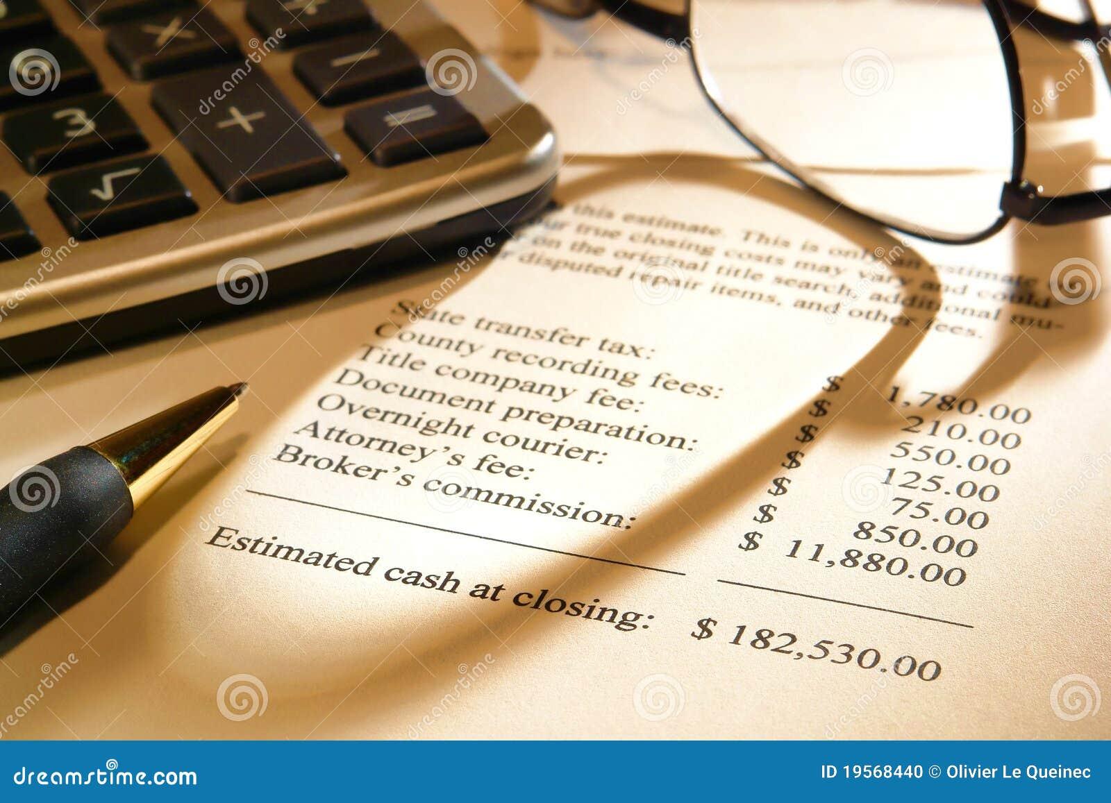 Preventivo di spesa di chiusura del venditore del bene immobile