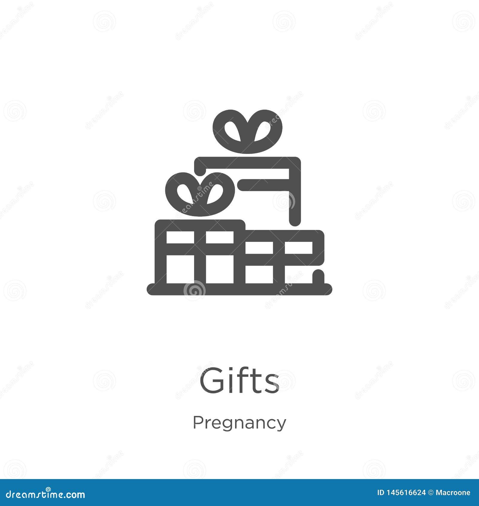 Prezent ikony wektor od ciążowej kolekcji Cienka kreskowa prezenta konturu ikony wektoru ilustracja Kontur, cienieje kreskową pre