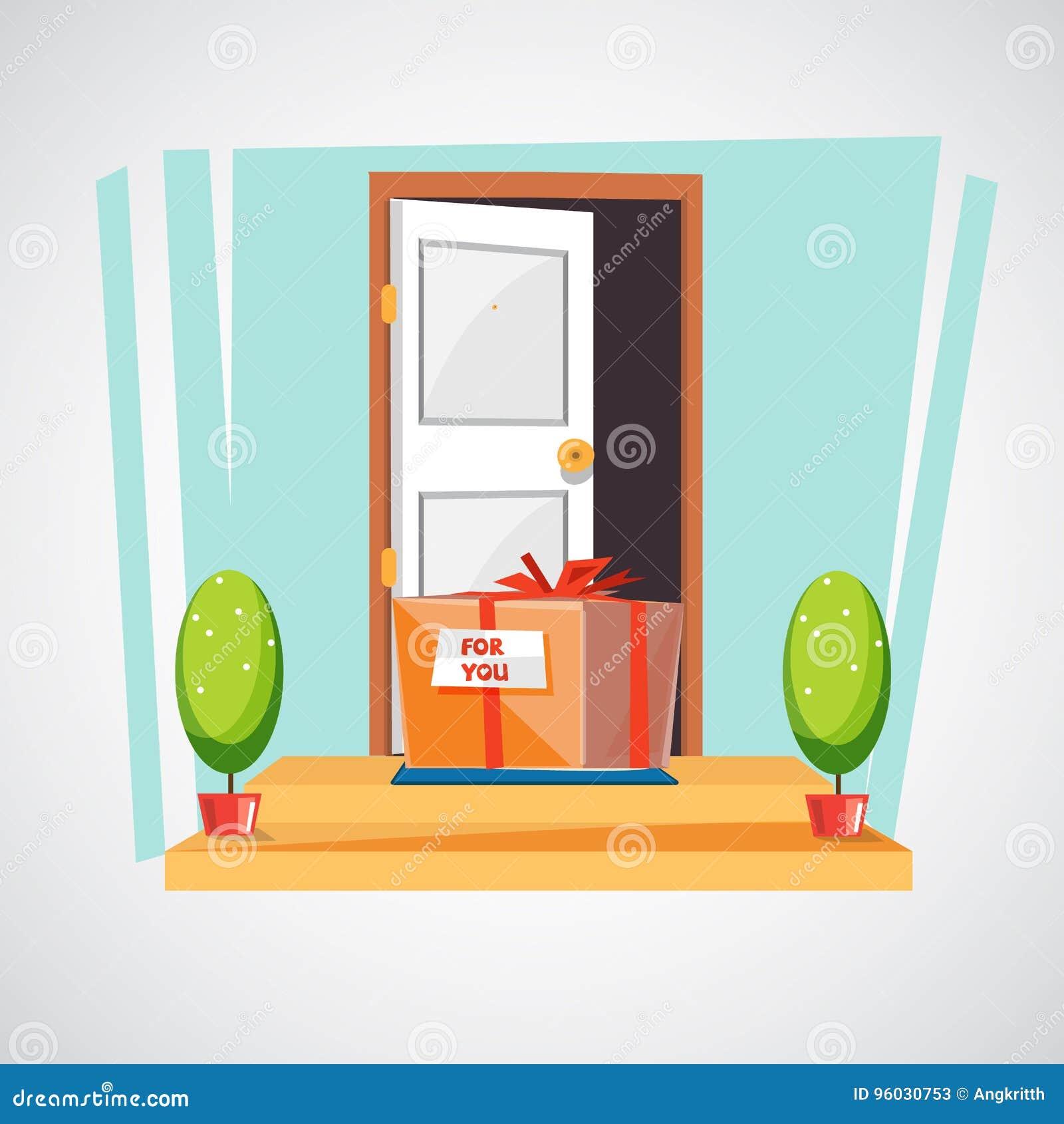Prezenta pudełko na podłoga wejście dom zaskakuje lub dostarcza