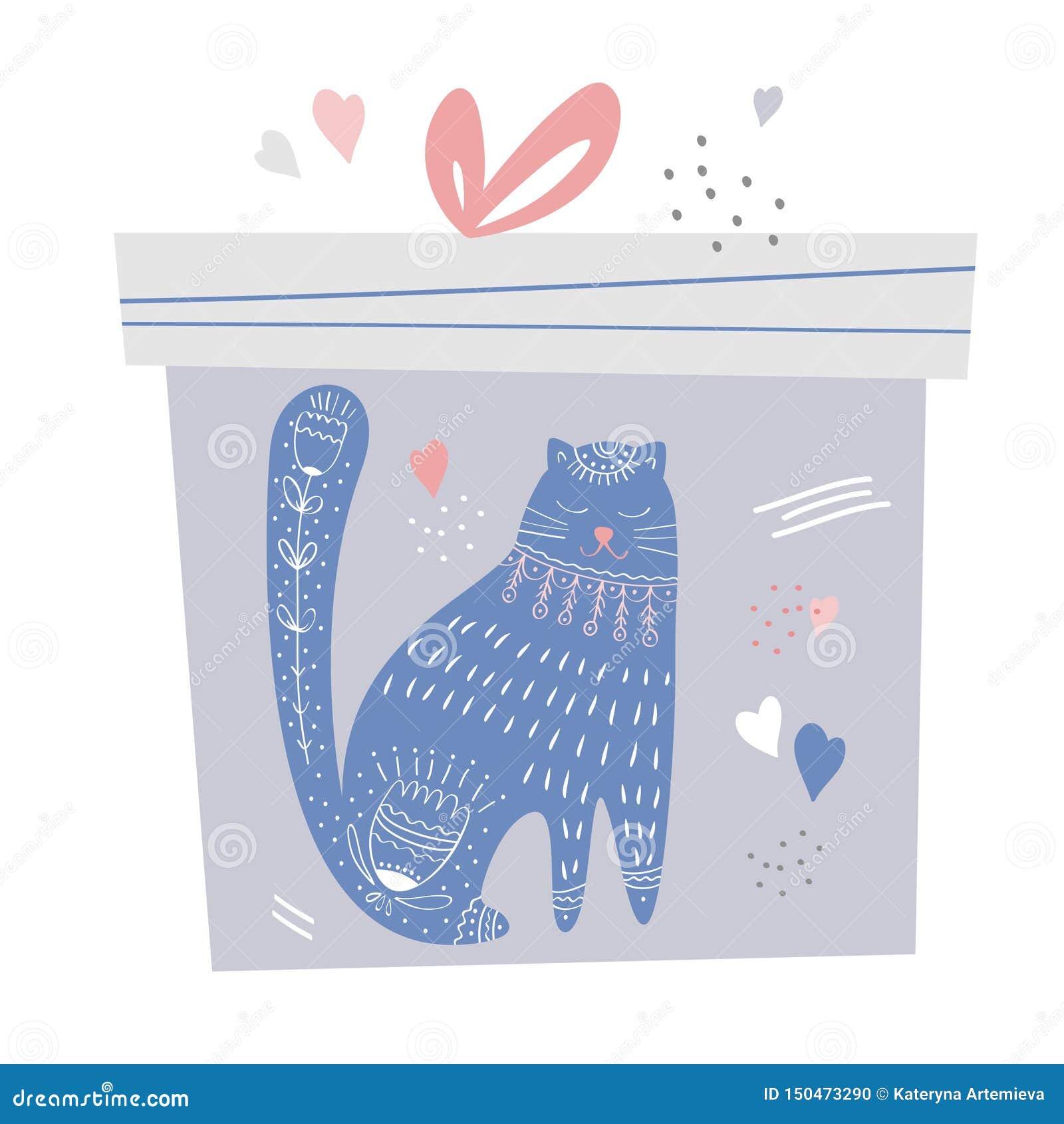 Prezenta pudełko z śliczną dekoracją i kotem Handdrawn