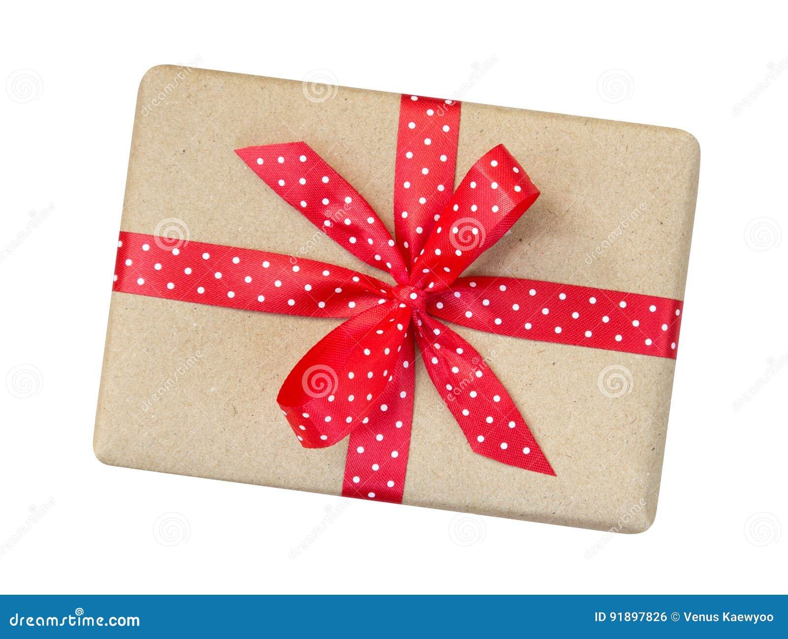 Prezenta pudełko zawijający w brązie przetwarzał papier z czerwonym polki kropki ribb