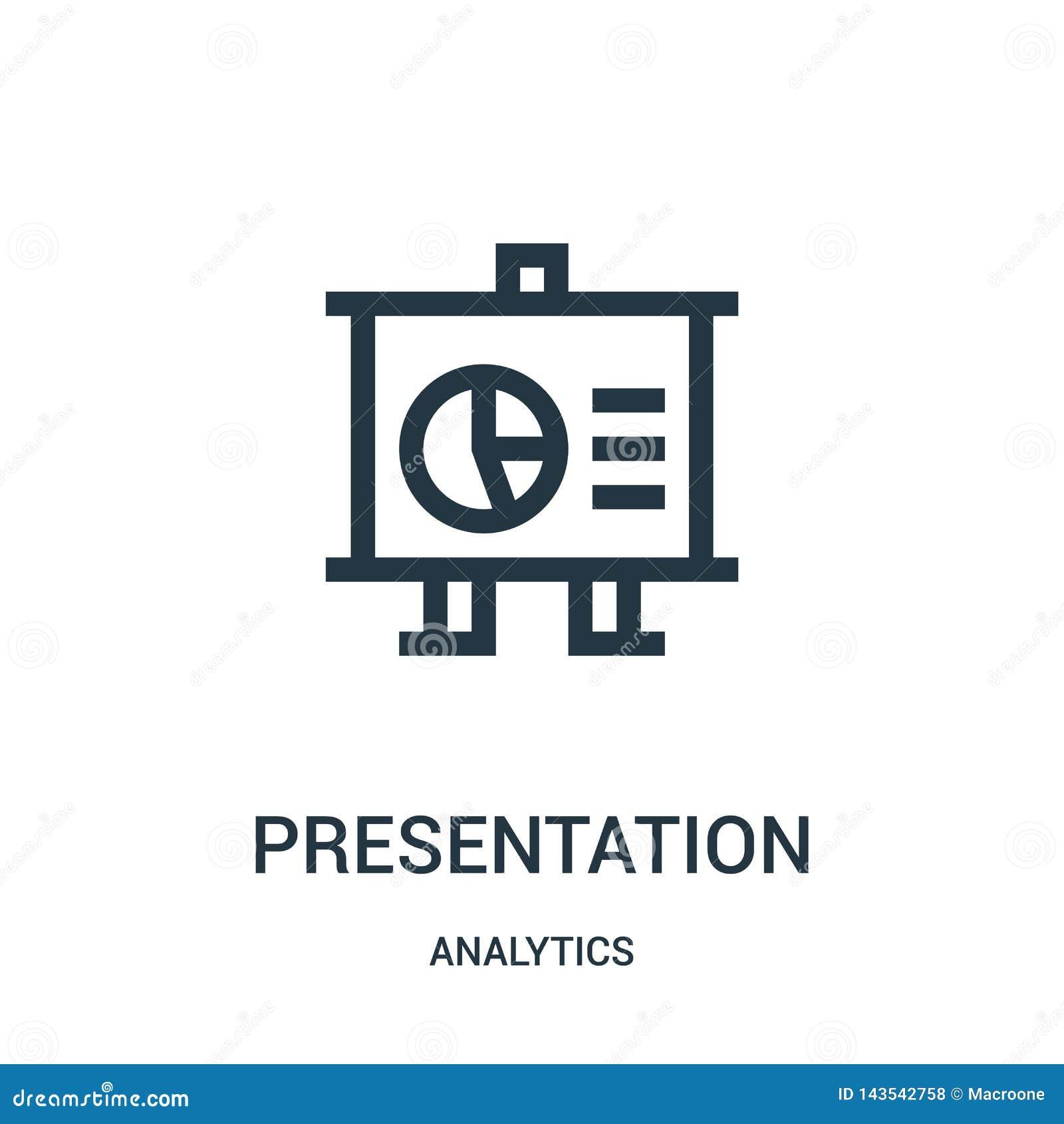 Prezentacji ikony wektor od analityka inkasowych Cienka kreskowa prezentacja konturu ikony wektoru ilustracja