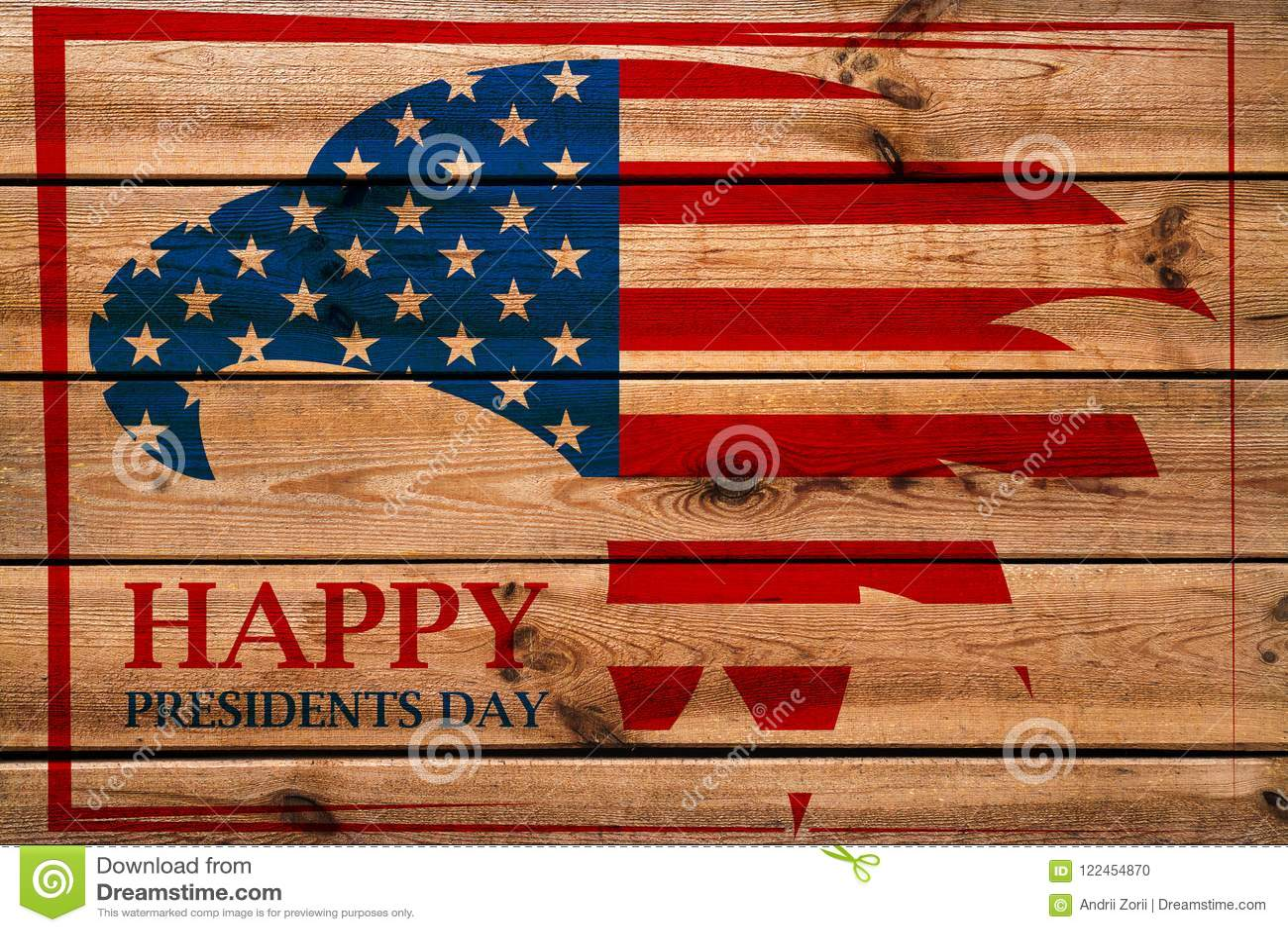 Prezydentów dni emblemat z Amerykańskim orłem w czerwieni ramie Drewniany tło