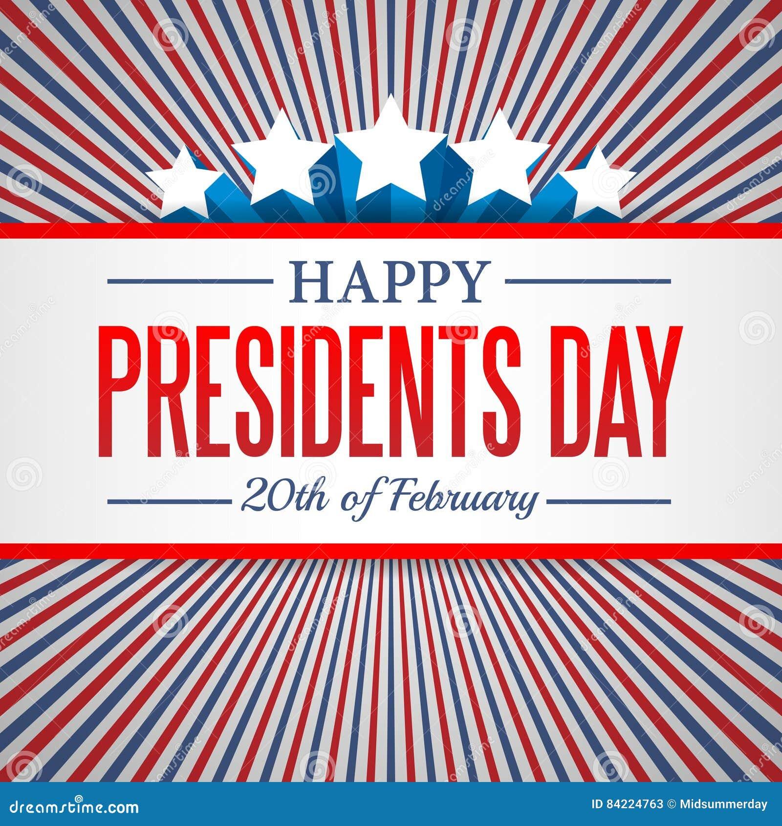 Prezydenta dnia tło USA patriotyczny wektorowy szablon z tekstem, lampasami i gwiazdami w kolorach flaga amerykańska,