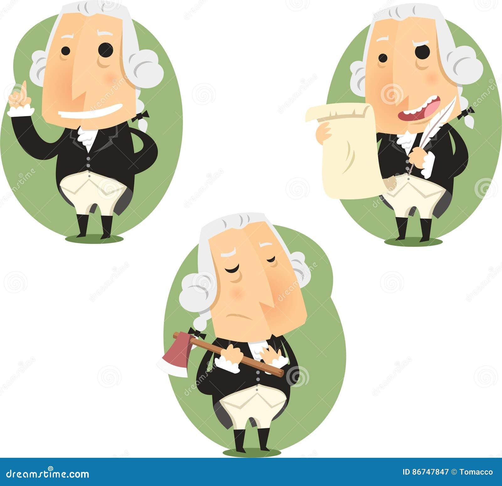 Prezydenta George Washington kreskówki akci set