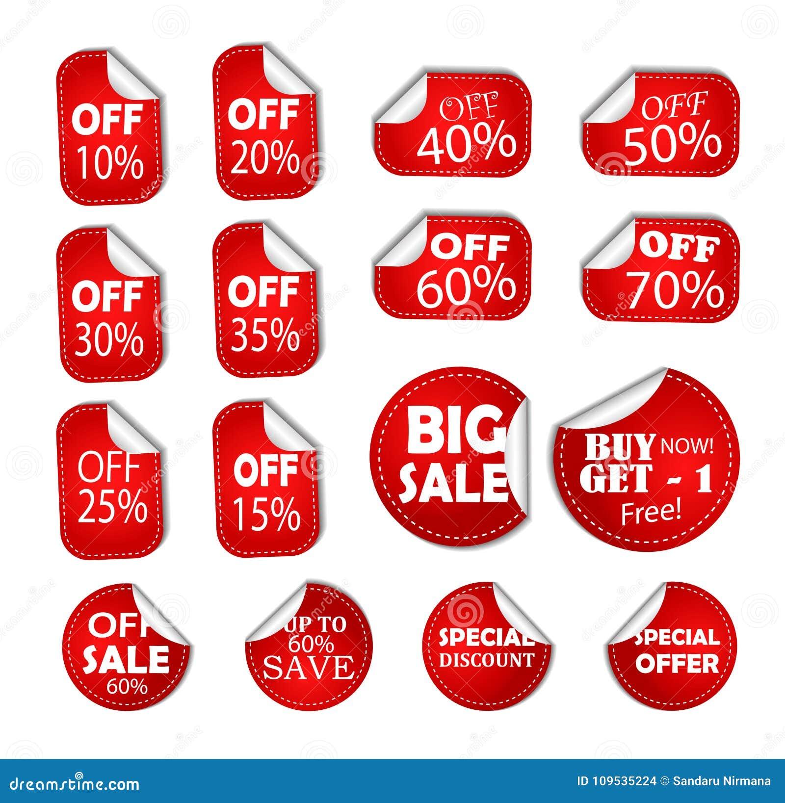 Prezzo da pagare dell insegna degli speciali di sconto di vendita, autoadesivo mezzo fuori, icona del buono delle percentuali di