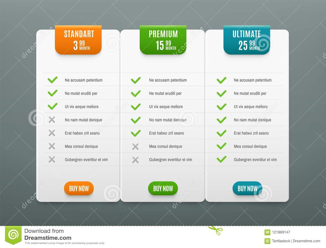 price plans comparison infographic tab with 3 columns web table