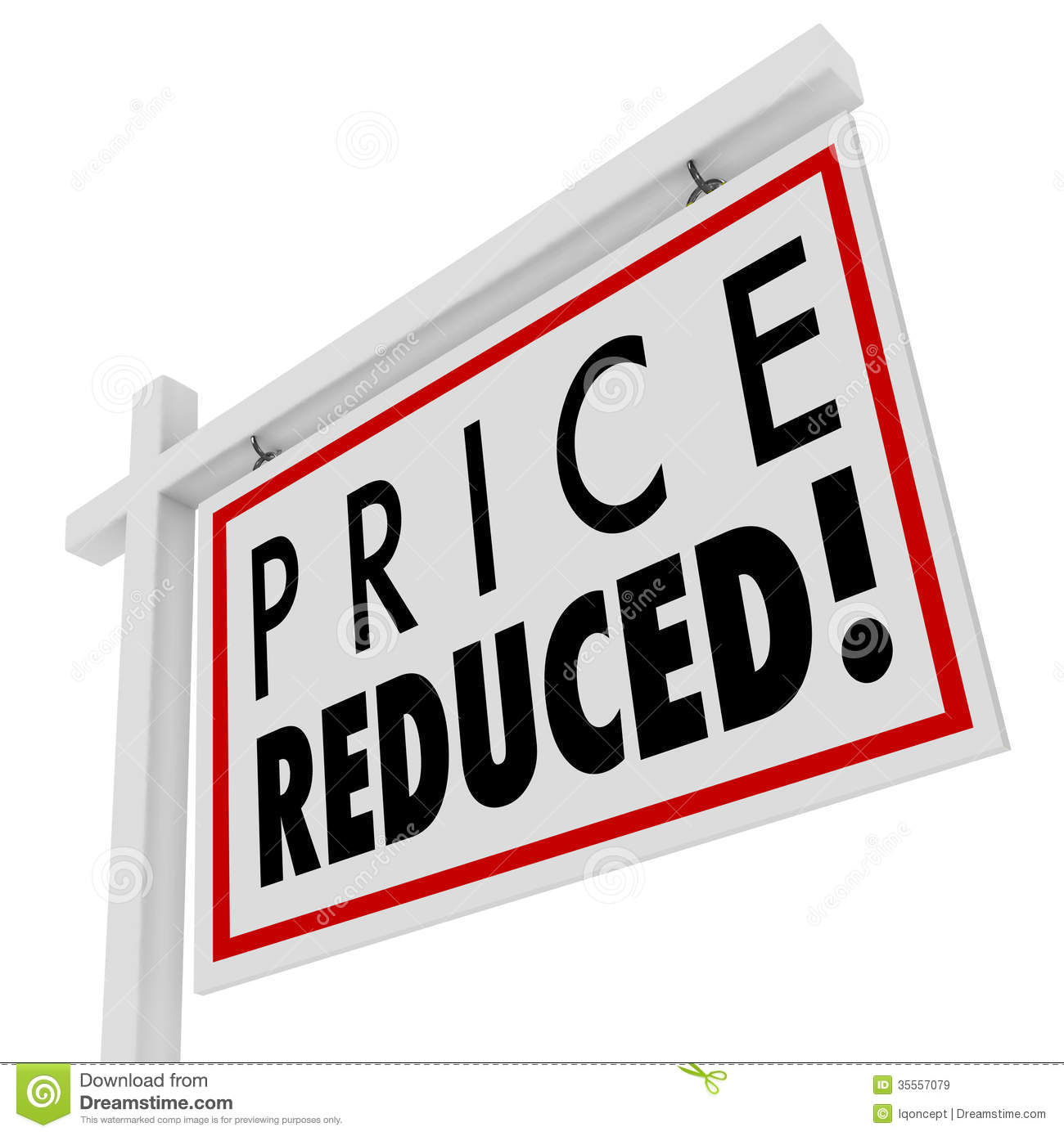 Price Reduced Home For Sale Sign Lower Value Stock ...