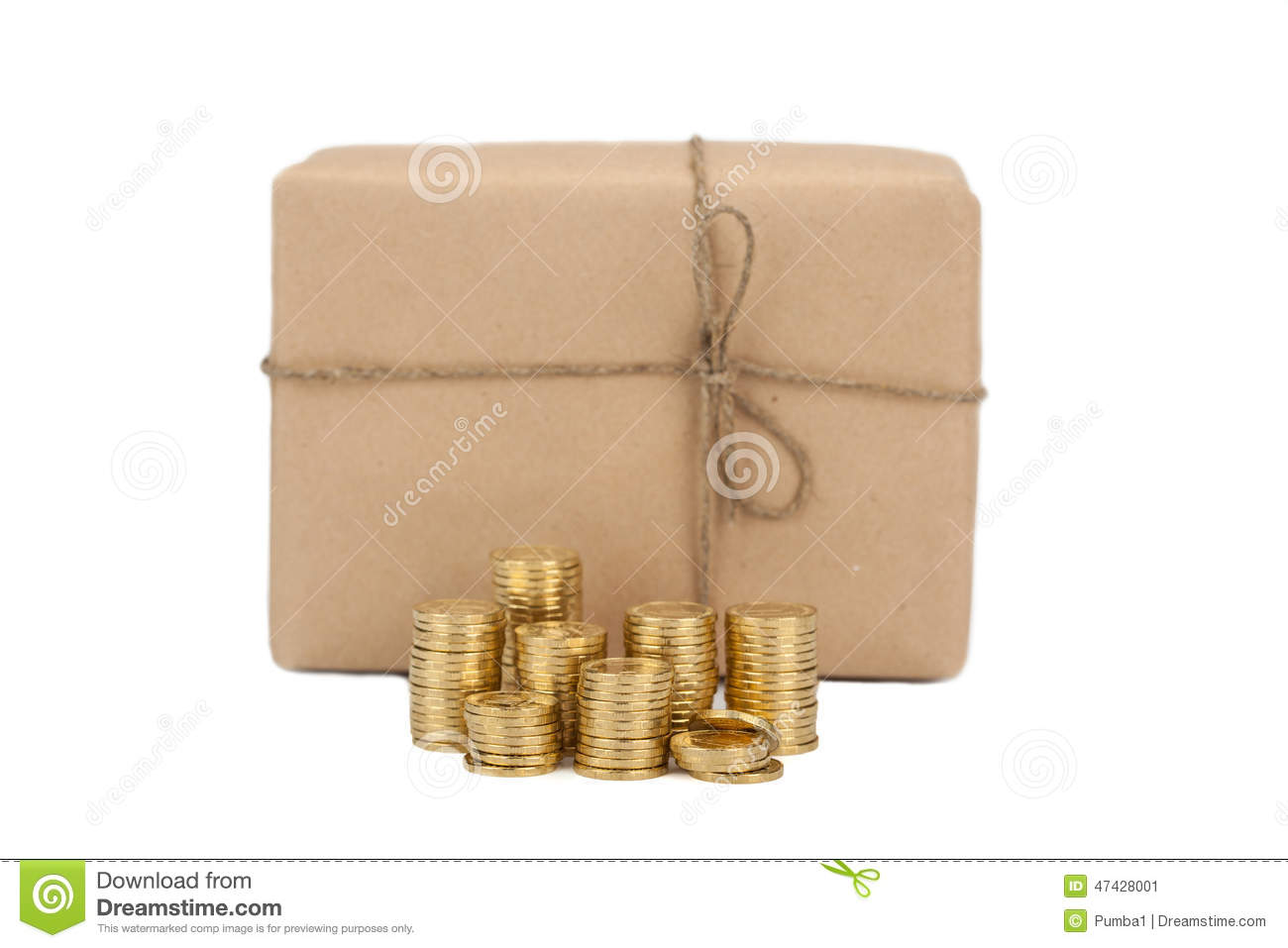 Price of sending parcels. concept. coins the near box package