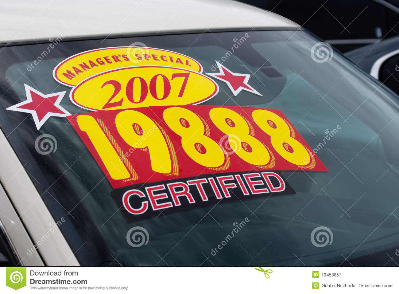 price sticker on used car lot royalty free stock photography image 19458867. Black Bedroom Furniture Sets. Home Design Ideas